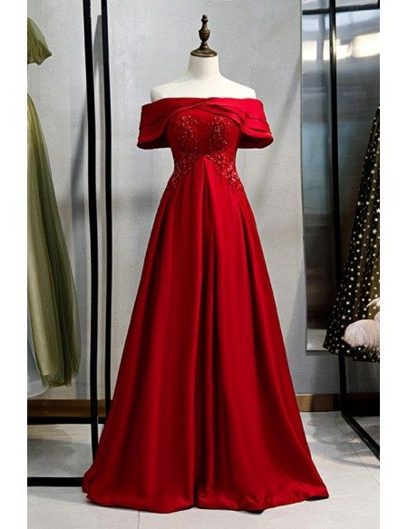 Beaded Empire Long Satin Formal Dress With Off Shoulder
