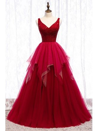 Special Formal Long Tulle Ballgown Prom Dress With Vneck