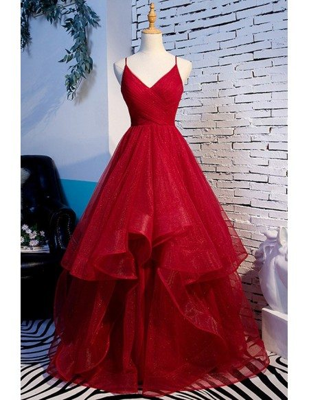 Vneck Pleated Long Tulle Prom Dress With Ruffles Straps