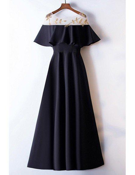 Simple Long Black Formal Dress With Beading Ruffles