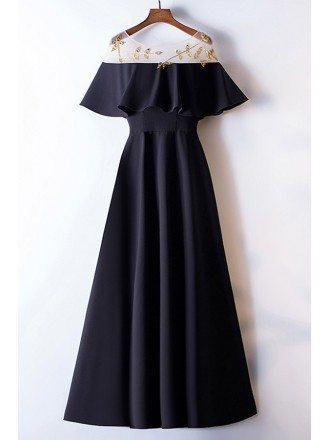 Simple Long Black Formal Dress With Beading Ruffles