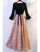 Special Black With Champagne Lace Party Dress With Long Sleeves