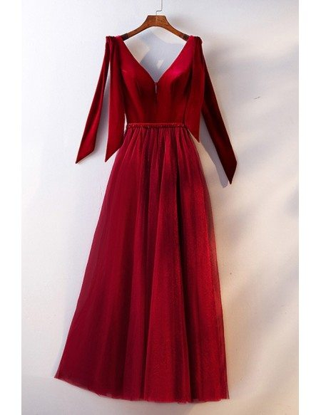Burgundy Long Formal Evening Dress Vneck With Bow Straps
