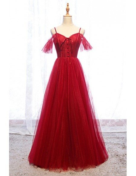 Lolita Burgundy Long Tulle Aline Formal Party Dress With Straps
