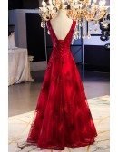 Burgundy Red Vneck Long Lace Evening Dress With Open Back
