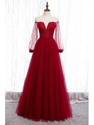 Gorgeous Long Tulle Sleeve Party Dress With Sheer Neck