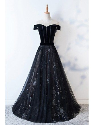 Mistery Long Black Prom Dress With Patterns Off Shoulder