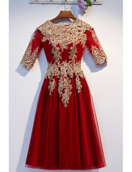 Short Tulle Beaded Embroidery Burgundy Party Dress With Sleeves