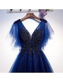 Navy Blue Long Tulle Aline Prom Party Dress With Puffy Sleeves