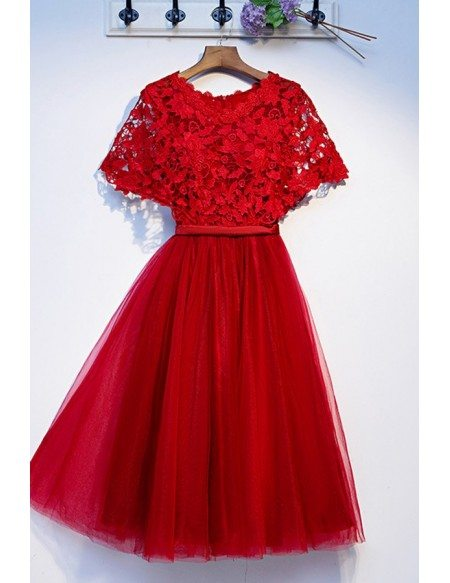 Elegant Short Red Lace Tulle Party Dress With Cape