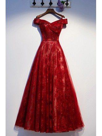Burgundy Bling Sequins Off Shoulder Prom Dress