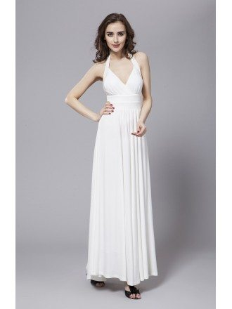 Sexy A-Line Halter Chiffon Long Dress With Ruffle