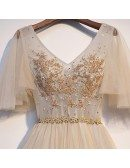 Graceful Light Champagne Long Prom Dress Vneck With Puffy Sleeves
