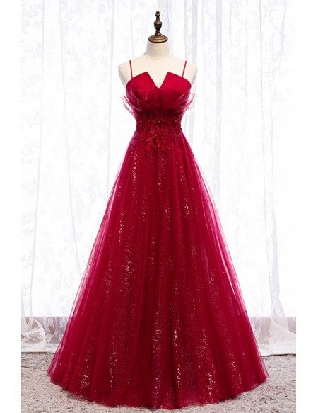 A Line Long Tulle Formal Dress Burgundy With Bling Sequins