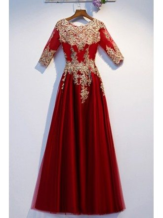Burgundy Long Tulle Formal Dress With Gold Embroidery Sleeves