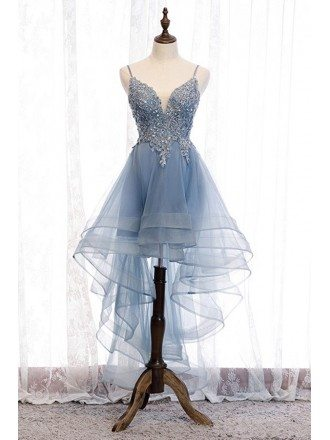 Dusty Blue High Low Prom Party Dress With Beaded Ruffles