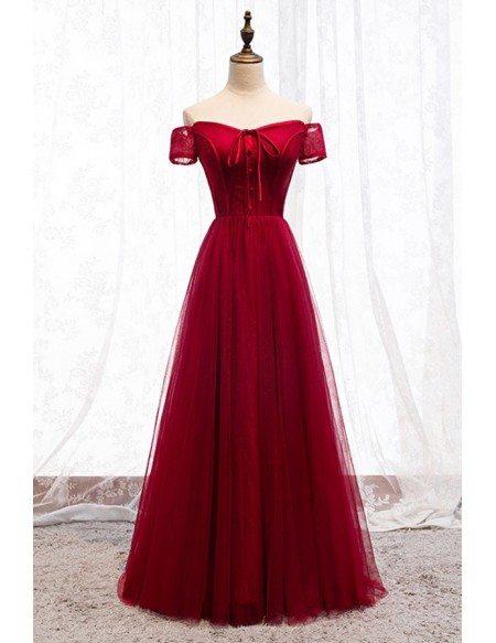 Formal Aline Burgundy Party Dress With Off Shoulder Sleeves