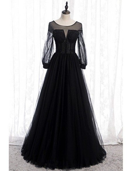 Formal Black Tulle Evening Dress With Long Sleeves