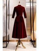 Modest Burgundy Tea Length Formal Dress Velvet With Sleeves