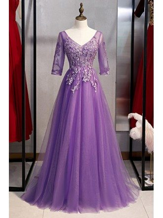 Purple Long Tulle Vneck Prom Dress With Appliques Sleeves