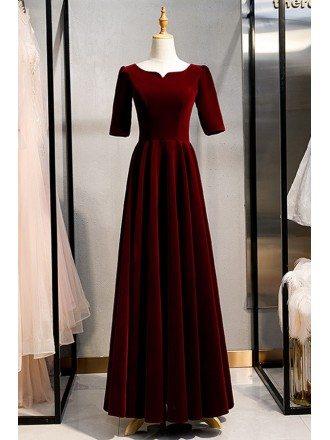 Burgundy Long Red Velvet Retro Formal Dress With Sleeves