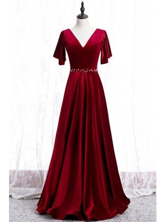 Flowy Long Velvet Evening Dress Vneck With Sleeves