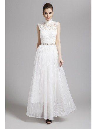 Romantic High-neck Lace Chiffon Long Dress With Open Back