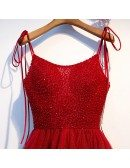 Burgundy Long Red Aline Party Dress With Beading Straps