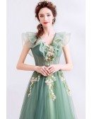 Unique Formal Green Tulle Prom Dress With Flowers Vneck Cap Sleeves