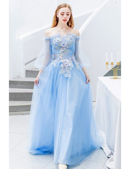 Gorgeous Blue Bubble Sleeve Tulle Prom Dress Off Shoulder With Flowers