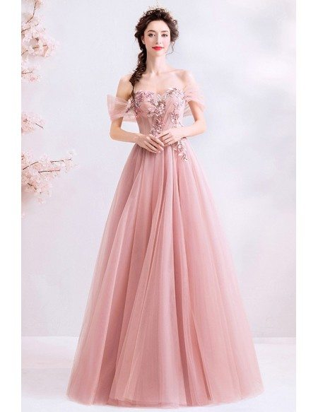 Dusty Pink Tulle Romantic Aline Prom Dress Off Shoulder With Petals