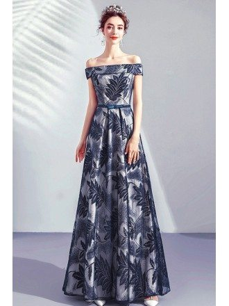 Off Shoulder Navy Blue Prom Dress Long With Leaf Patterns