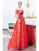 Red Sparkly Flowers Long Tulle Party Dress With Off Shoulder