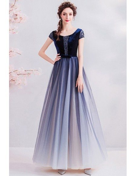 Modest Cap Sleeve Ombre Blue Tulle Prom Dress With Beading