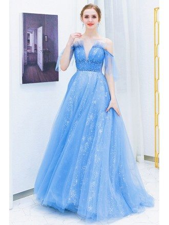 Blue Tulle Sparkly Long Prom Dress Cute With Bling Sequins