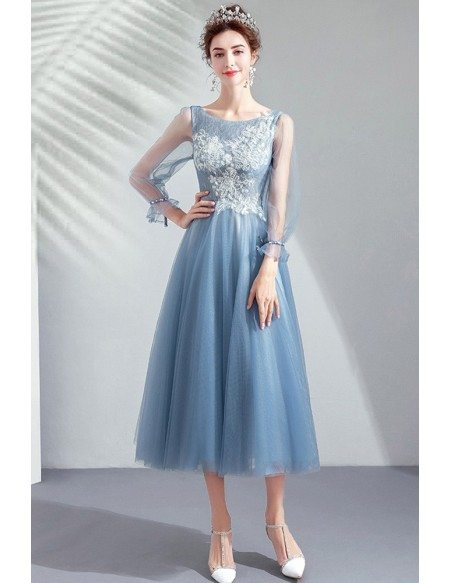 Pretty Dusty Blue Tea Length Party Dress With Long Sleeves Lace