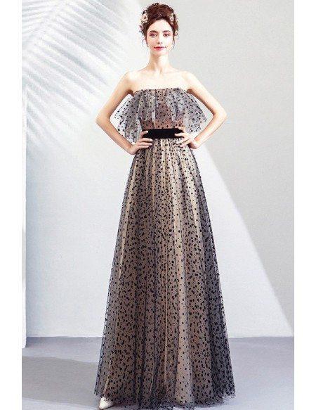 Black Polka Dot Cute Long Tulle Prom Party Dress Off Shoulder