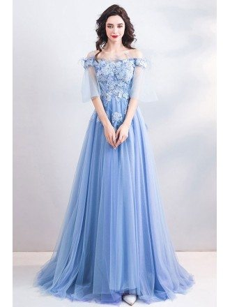 Fairy Blue Long Tulle Aline Prom Dress Off Shoulder With Sweep Train