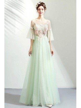 Fairytale Puffy Sleeves Lime Green Long Prom Dress Tulle With Flowers
