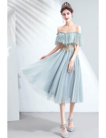 Dusty Green Pretty Party Dress Tea Length Off Shoulder