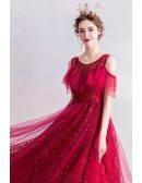 Burgundy Cold Shoulder Aline Party Dress Long With Sparkly Patterns