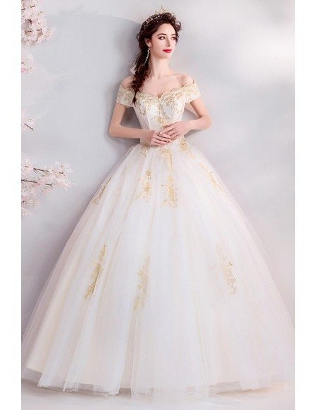 Classical Gold With Ivory Ballgown Wedding Dress Off Shoulder With Embroidery
