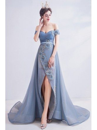 Sexy Off Shoulder Dusty Blue High Low Prom Party Dress With Train