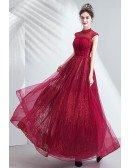 Vogue High Neck Modest Prom Dress Long With Illusion Neckline