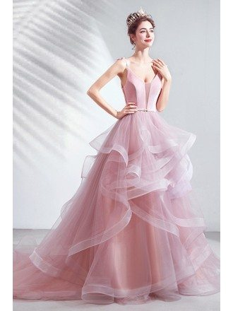 Stunning Pink Cascading Ruffles Prom Dress With Train Straps