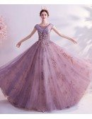 Dusty Purple With Gold Bling Formal Prom Dress With Cap Sleeves
