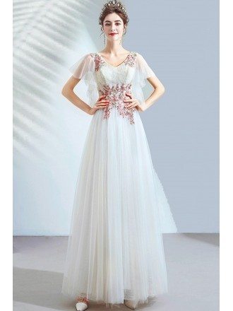 Long White Flowy Tulle Pretty Party Dress Vneck With Puffy Sleeves