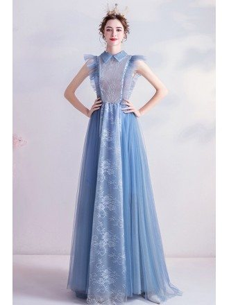Noble Mist Blue Long Prom Dress With Lace Collar Sleeveless