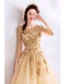 Luxe Champagne Gold Long Sleeve Prom Dress Tulle With Beaded Lace