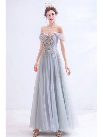 Gorgeous Grey Embroideried Flowers Tulle Prom Dress Off Shoulder